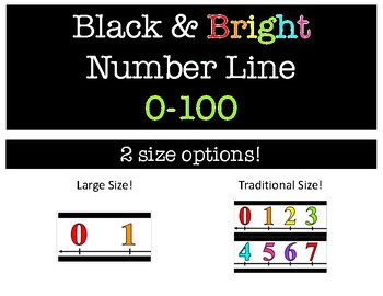 Black and Bright Number Line 0-100 (Large and Small Size Options)