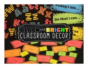Black and Bright - classroom decor pack