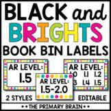 Black and Bright EDITABLE Library Book Bin Labels | Classroom Decor