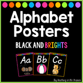 Black and Brights Alphabet Posters (D'Nealian)