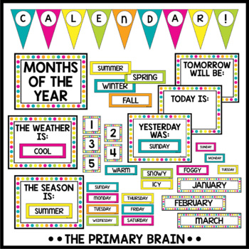 Black and Brights Calendar Set Including Weather, Seasons, Daily Math and more!