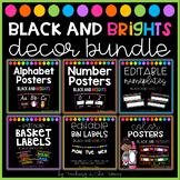 Black and Brights Classroom Decor Bundle (D'Nealian Font)
