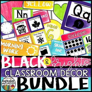 Black and Brights Classroom Decor Kit