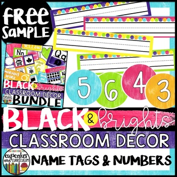 Black and Brights Classroom Decor Name Tags and Numbers