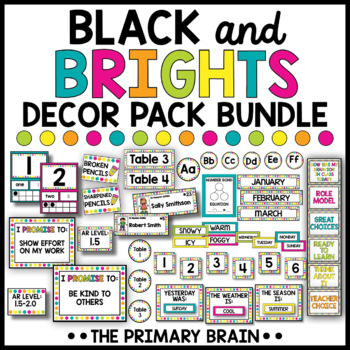 Black and Brights Classroom Decor Pack Bundle