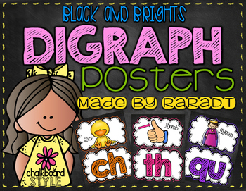 Black and Brights Digraph Posters
