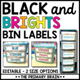 Black and Brights EDITABLE Bin Labels