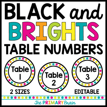 Black and Brights EDITABLE Table Numbers