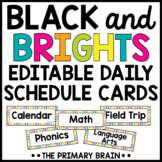 Black and Brights Editable Daily Schedule Cards