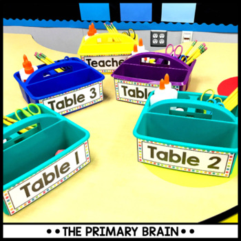 Black and Brights Editable Table Caddy Labels