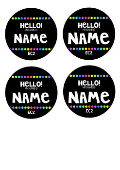 Black and Brights Name Tags/Labels EDITABLE