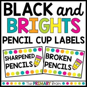 Black and Brights Pencil Cup Labels Freebie