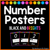 Black and Brights Spanish Number Posters 0-20 (D'Nealian)