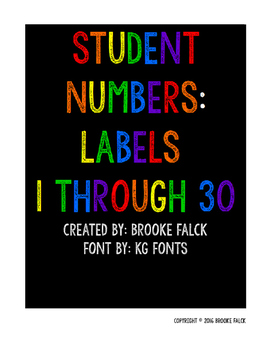 Black and Brights Student Number Labels