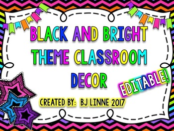 Black and Brights Theme Classroom Decor Pack