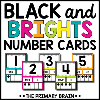 Black and Brights Themed Number Card Posters from 1-20