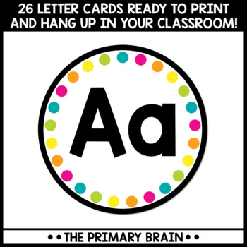 Black and Brights Word Wall Letter Cards
