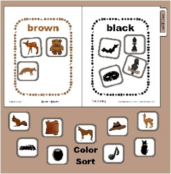 Black and Brown Color Sorting Matching File Folder Game