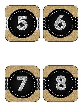 Black and Burlap Numbers 1-31