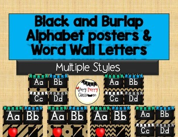 Black and Burlap Phonics Posters and Word Wall Letters