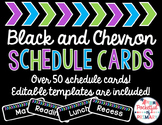 Black and CHEVRON Schedule Cards - EDITABLE