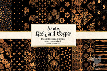 Black and Copper Seamless Digital Paper Patterns