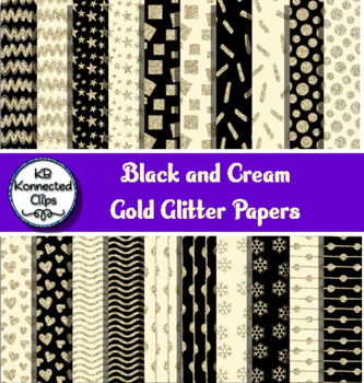 Black and Cream Gold Glitter Papers