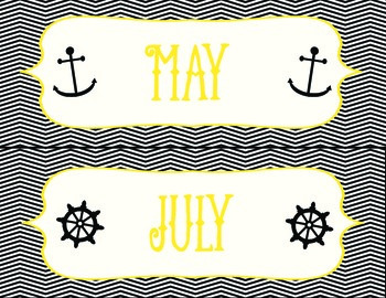 Black and Gold Anchors Away Calendar Set