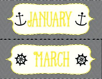Black and Gold Anchors Away Calendar Set