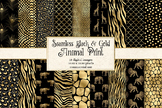 Black and Gold Animal Print Patterns, safari animal skin d
