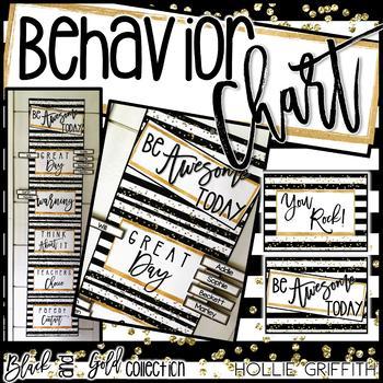 Black and Gold Behavior Chart {Editable}