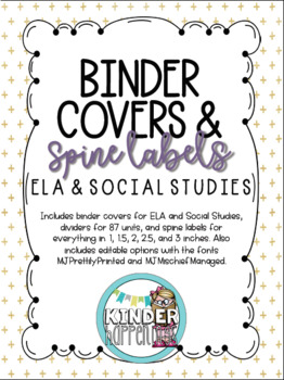 Black and Gold Binder Covers/Spine Labels for Grades 3-5 ELA & Social Studies