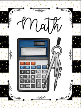 Black and Gold Binder Covers/Spine Labels for Grades 3-5 Math and Science
