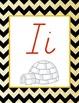 Black and Gold Chevron Alphabet (D'Nealian)