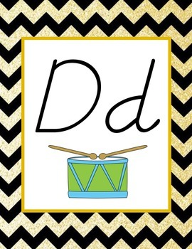 Black and Gold Chevron Alphabet (D'Nealian)