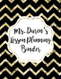 Black and Gold Chevron Lesson Planning Binder Cover FREE