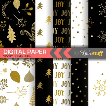 Black and Gold Christmas Digital Paper