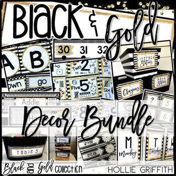 Black and Gold Classroom Decor BUNDLE
