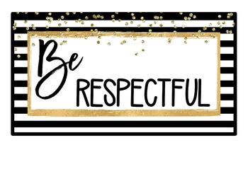 Black and Gold Classroom Rules Posters {Editable}