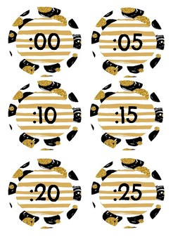 Black and Gold Clock Labels