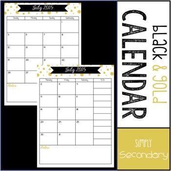 Black and Gold Confetti Calendar