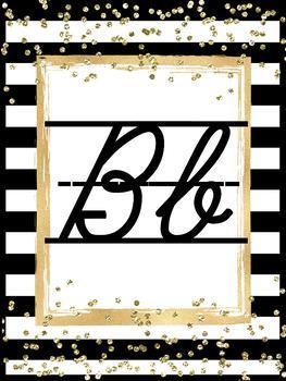 Black and Gold Cursive Alphabet Posters