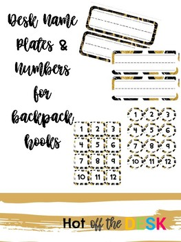 Black and Gold Desk Plates and Backpack Numbers