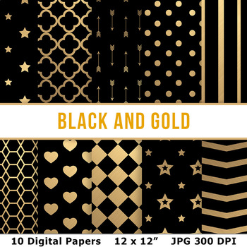 black and gold digital paper new years backgrounds brushed gold scrapbooking