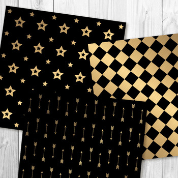 Black and Gold Digital Paper, New Year's Backgrounds, Brushed Gold, Scrapbooking
