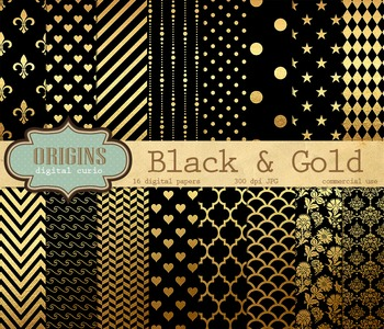 Black and Gold Digital Paper Scrapbook Paper Pack