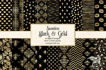 Black and Gold Digital Paper, seamless tileable gold foil backgrounds