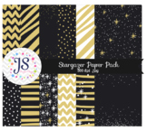 Black and Gold Digital Papers or Backgrounds