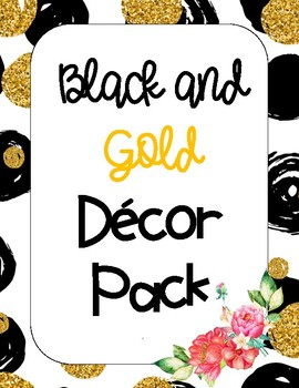 Black and Gold Floral Decor Pack