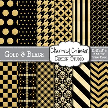 Black and Gold Foil Metallic Digital Paper 1105